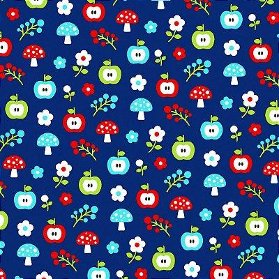 Tecido Tricoline Estampa de Maçã com Cogumelo (Fundo Azul) - Coleção Maçãs Encantadas - Preço de 50 cm x 150 cm
