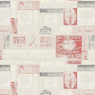 Tecido Tricoline Estampa Journal de France Rouge - Coleção Vive La France - Preço de 45 cm x 150 cm