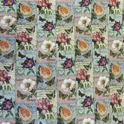 Tecido Digital - Flor Retrô Paris Digital - Preço de 50 cm x 140 cm