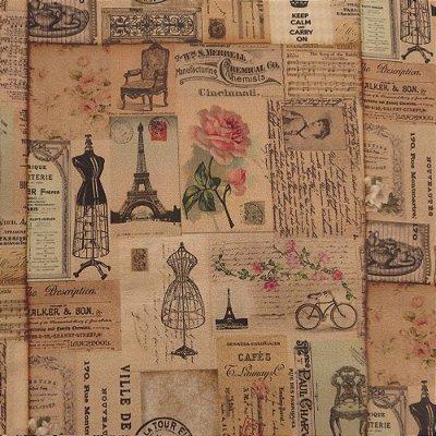 Tecido Digital - Paris Antiga - Preço de 50 cm x 140 cm