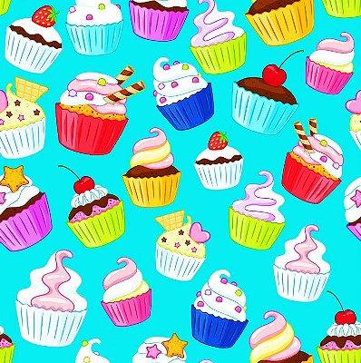 Tecido Digital - Cupcakes - Fundo Tiffany - Preço de 45 cm x 140 cm