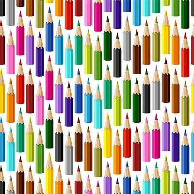 Tecido Digital - Lápis Coloridos - Fundo Branco - Preço de 50 cm x 140 cm