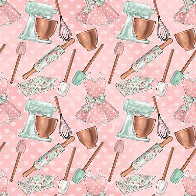 Tecido Digital - Cozinha Vintage Rosê - Fundo Rosa - Preço de 50 cm x 140 cm