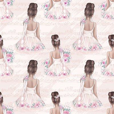 Tecido Digital - Bailarina Vintage - Fundo Rosa - Preço de 50 cm x 140 cm