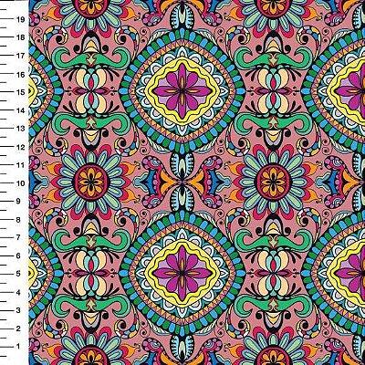 Tecido Digital - Mandala - Fundo Rosê - Preço de 45cm x 150cm