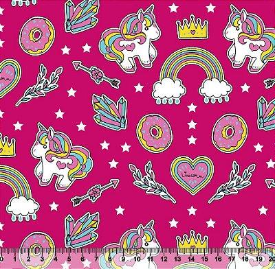 Tecido Tricoline Infantil do Unicórnio (Fundo Pink) - Preço de 50 cm X 150 cm