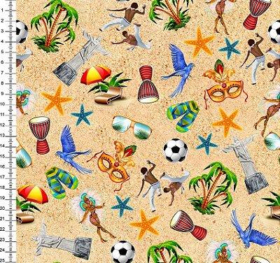Tecido Digital - Brasil, Monumentos, Praia, Carnaval, Samba, Futebol - Fundo Areia - Preço de 50cm x 150cm