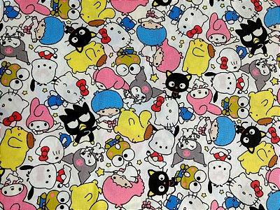 Tecido Tricoline Hello Kitty Characters - Fundo Branco - Preço de 50cm x 150cm