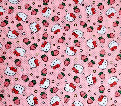 Tecido Tricoline Hello Kitty Strawberries (Morango) - Fundo Rosa com Poá - Preço de 50cm x 150cm