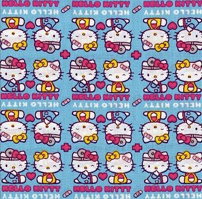 Tecido Tricoline Hello Kitty Medical - Fundo Azul - Preço de 50cm x 150cm