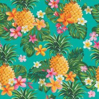 Tecido Tricoline Estampado Digital Abacaxi e Flores - Fundo Verde - Preço de 50cm x 150cm