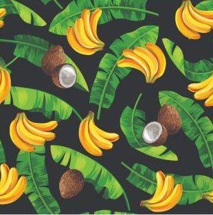 Tecido Tricoline Estampado Digital Frutas Bananas e Cocos - Fundo Preto - Preço de 50cm x 150cm