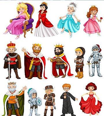 Tecido Tricoline Estampado Digital Rei, Rainha, Príncipe e Princesa - Fundo Branco - Preço de 53 cm x 150 cm