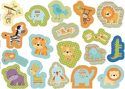 Feltro Estampado Naninhas: Leão, Jacaré, Girafa, Elefante, Zebra, Tigre, Macaco, Hipopótamo e Passarinho - Coleção Jungle Baby - Preço de 1m x 1,40 m
