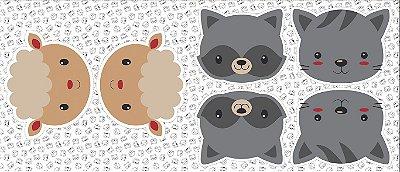 Tecido Tricoline - Pillows - Rostinhos de Ovelhas, Guaxinim e Gatinho - 60 cm x 150 cm