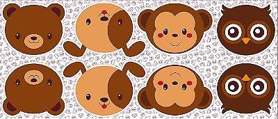 Tecido Tricoline - Pillows - Rostinhos de Urso, Cachorro, Macaco e Coruja - 60 cm x 150 cm