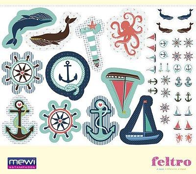 Feltro Estampado Naninhas: Baleias, Farol, Barco à Vela, Âncora, Polvo e Timão - Coleção 7 Mares- Preço de 1m x 1,40 m