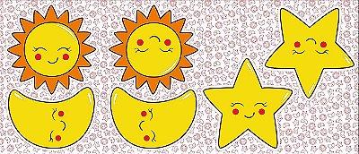 Tecido Tricoline - Pillows - Rostinhos de Sol, Lua e Estrela - 60 cm x 150 cm