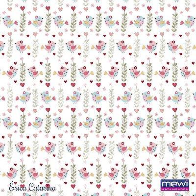 Feltro Estampado Passarinho Jardim - Fundo Branco - Coleção Passarinho - Preço de 50 cm x 140 cm