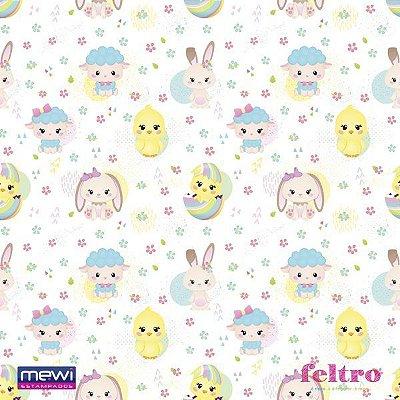 Feltro Estampado Pintinho, Ovelha e Coelho - Fundo Branco - Coleção Baby Personagens - Preço de 50cm x 140cm