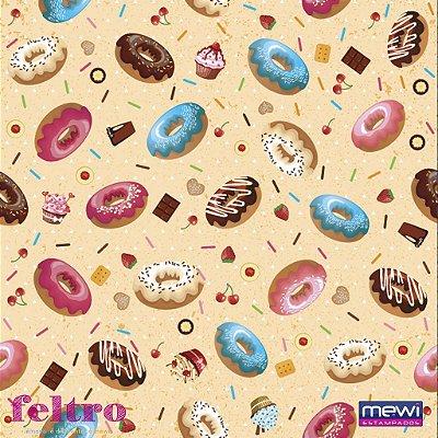 Feltro Estampado Donuts - Fundo Laranja - Coleção Doceria - Corte Mínimo de 50cm x 140cm