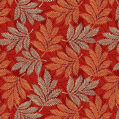 Tecido Tricoline Estampa de Folhagens em Tons de Laranja - Coleção Rami - Preço de 50 cm X 150 cm