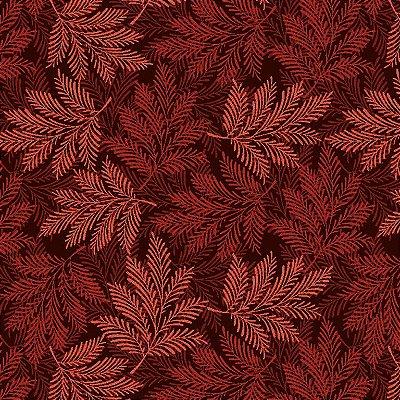 Tecido Tricoline Estampa de Folhagens em Tons de Bordo - Coleção Rami - Preço de 50 cm X 150 cm