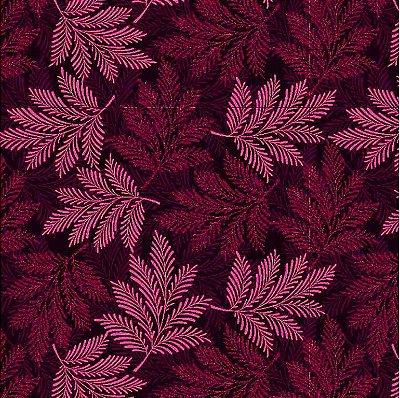 Tecido Tricoline Estampa de Folhagens em Tons de Vinho - Coleção Rami - Preço de 50 cm X 150 cm