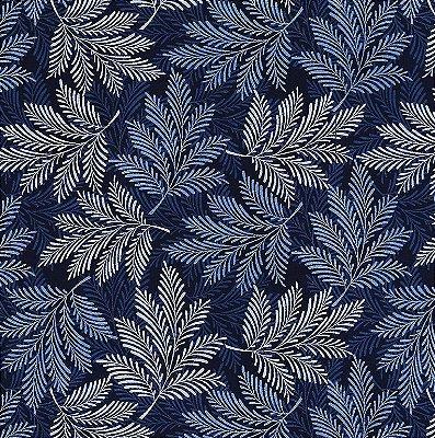 Tecido Tricoline Estampa de Folhagens em Tons de Azul - Coleção Rami - Preço de 50 cm X 150 cm