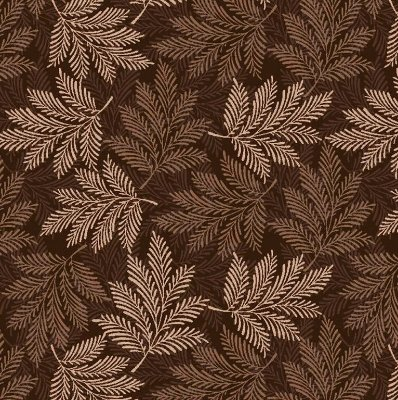 Tecido Tricoline Estampa de Folhagens em Tons de Marrom - Coleção Rami - Preço de 50 cm X 150 cm