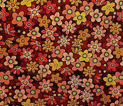 Tecido Tricoline Estampa Florzinhas  - Coleção Garden Days - (Fundo Café) - 50 cm X 150 cm