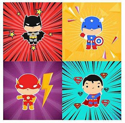 Tecido Estampa Exclusiva de Personagens - Super Heróis: Batman, Capitão América, Flash e Super Homem - 100% poliéster - Preço de 80cm x 60cm