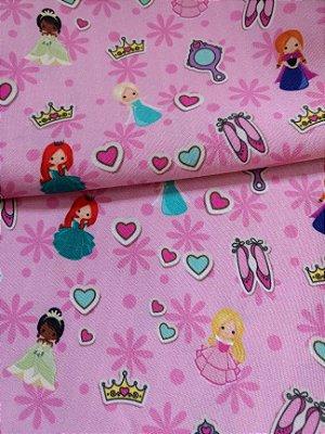 Tecido Estampa Exclusiva de Personagens - Princesas - Bela, Cinderela, Jasmine, Princesa e o Sapo, Branca de Neve, Rapunzel, Ariel e Valente - 100% poliéster - Preço de 80cm x 60cm