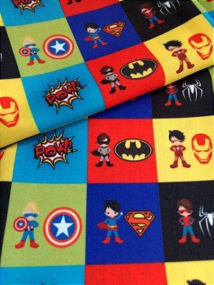 Tecido Estampa Exclusiva de Personagens - Heróis e Símbolos: Homem de Ferro, Batman, Homem Aranha, Capitão América e Super Homem - 100% poliéster - Preço de 80cm x 50cm