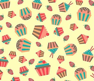 Tecido Tricoline Cupcake, Docinho e Morango  (Fundo Creme) - Preço de 50 cm x 150 cm