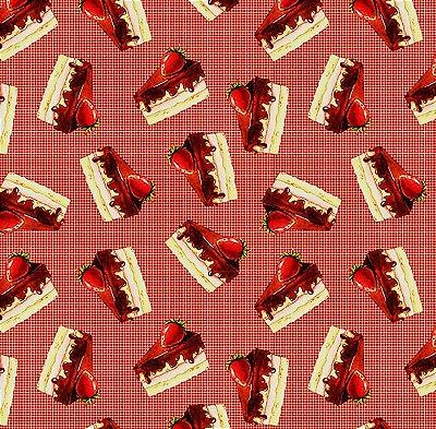 Tecido Estampa Digital de Bolo de Morango com Creme  (Fundo Xadrez Vermelho) - Preço de 50 cm x 150 cm