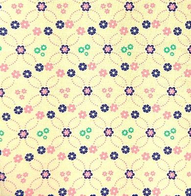 Tecido Tricoline Mini Flores Azul, Rosa e Verde (Fundo Creme) - Preço de 50 cm x 150 cm