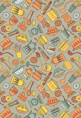 Tecido Tricoline Estampa de Utensílios de Cozinha Laranja e Amarelo (Fundo Cinza) - Preço de 50 cm X 146cm