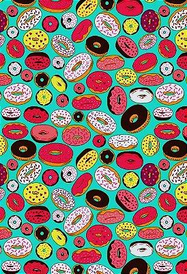 Tecido Tricoline Estampa de Rosquinhas Donuts  (Fundo Verde Tiffany) - Preço de 50 cm X 146 cm