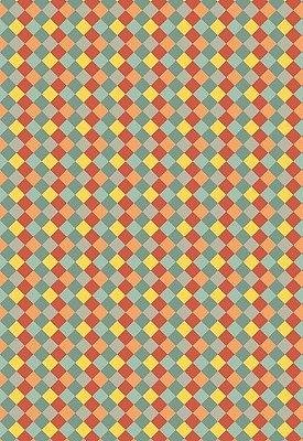 Tecido Tricoline Estampa Losangos Laranja, Azul e Amarelo - Preço de 50 cm x 146 cm