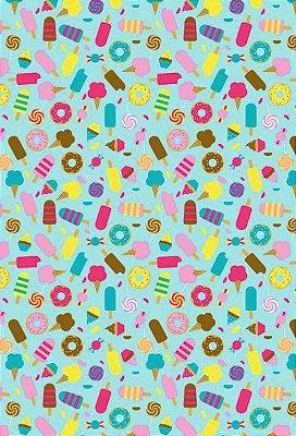 Tecido Tricoline Estampa Sorvetes, Doces, Donuts e Guloseimas ( Fundo Verde Tiffany) - Preço de 50 cm x 146 cm