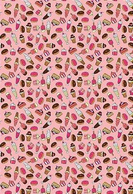 Tecido Tricoline Estampa Sorvete, Donuts, Bolo, Milk Shake e Cupcake ( Fundo Rosa) - Preço de 50 cm x 146 cm