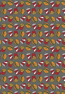 Tecido Tricoline Estampa Lanche de Fast Food: Hamburguer, Refrigerante e Batata Frita - Fundo Cinza - Preço de 50cm x 146 cm