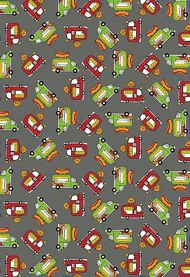 Tecido Tricoline Estampa de Food Truck Verde e Vermelho: Lanche - Fundo Cinza - Preço de 50cm x 146cm