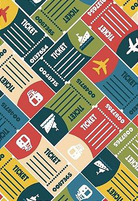 Tecido Tricoline Estampa de Ticket de Viagem - Preço de 50cm x 146 cm