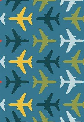 Tecido Tricoline Estampa de Aviões Azul, Verde Musgo, Amarelo e Vermelho - Fundo Azul  - Preço de 50cm x 146 cm