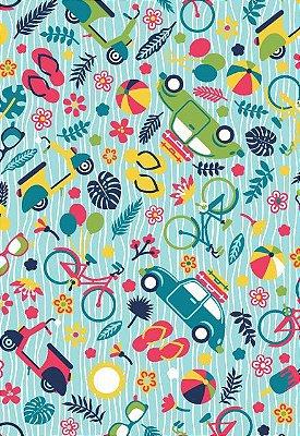 Tecido Tricoline Estampa de Viagem de Verão: Bicicleta, Lambreta, Óculos, Flor,Bola, Fusca, Mala, Chinelo e Sorvete - Fundo Azul  - Preço de 50cm x 146 cm