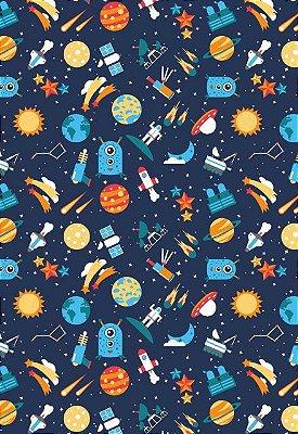 Tecido Tricoline Estampa Espaço: Sol, Estrela, Planetas, Luneta, Satélite, Foguete, Robô, Lua e Cometa - Fundo Azul Marinho- Preço de 50cm x 146 cm
