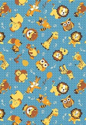 Tecido Tricoline Estampa Infantil Animais: Leão, Raposa, Elefante, Coruja, Coelho, Girafa, Cobra e Macaco - Fundo Azul - Preço de 50 cm X 146 cm