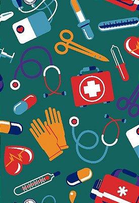 Tecido Tricoline Estampa de Instrumentos Médicos e de Enfermagem - Fundo Verde - Preço de 50cm x 146cm
